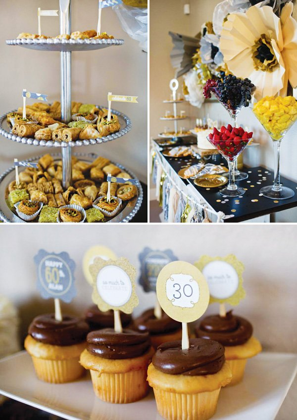 mini party food and chocolate cupcakes