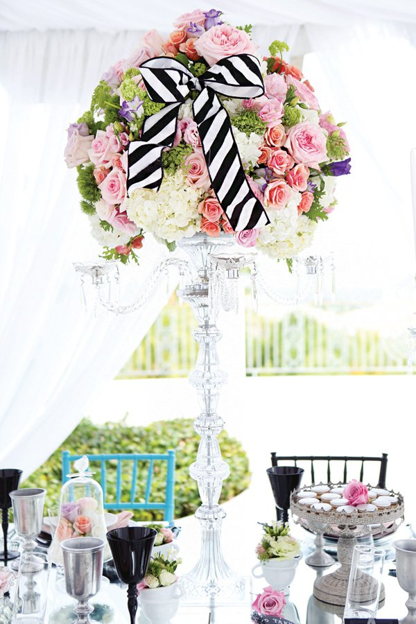 tall towers of floral arrangement centerpieces