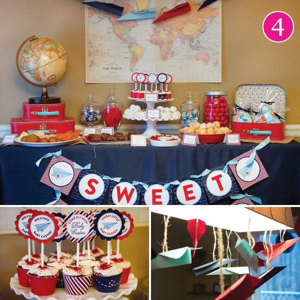 around the world paper airplane little boy's birthday party
