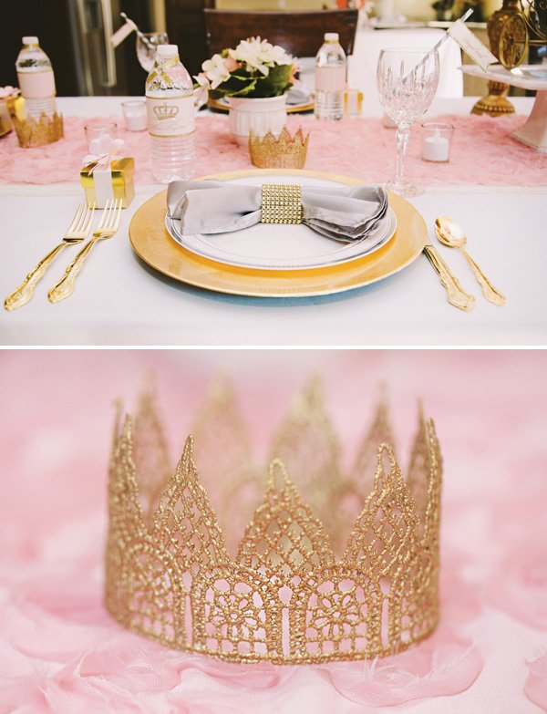 DIY gold lace crown place setting