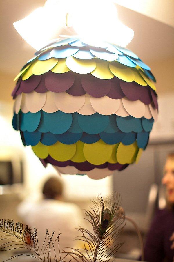 DIY scalloped paper hanging round lantern