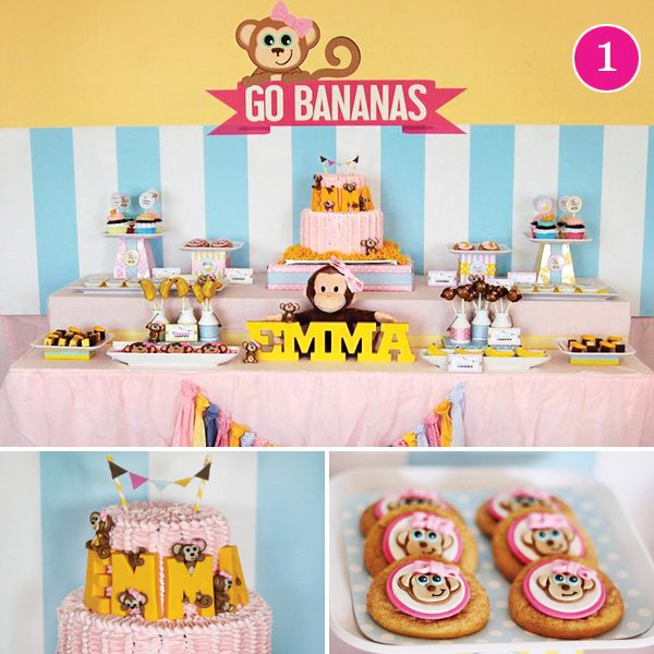 curious monkey go bananas first birthday party