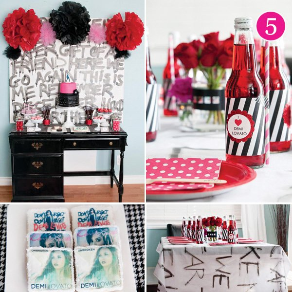 I Heart Demi Lovato girl's rockstar birthday party