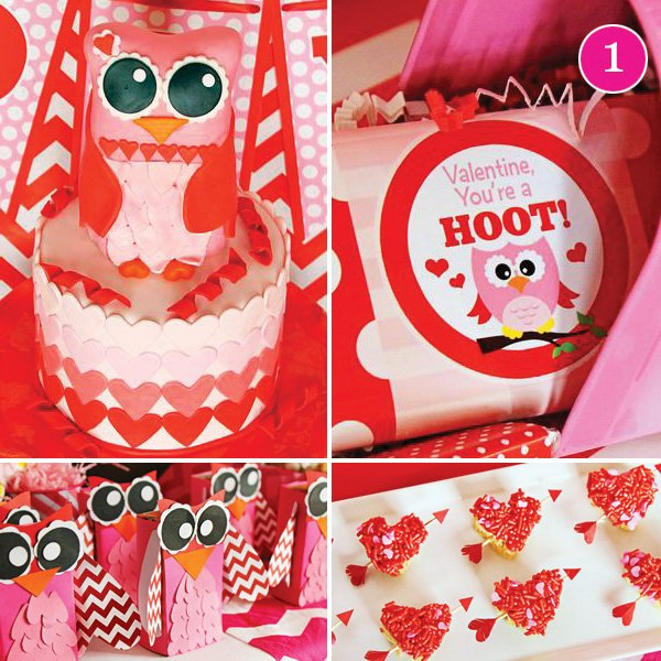 Owl inspired valentines day (or v-owl-entines) day kids party
