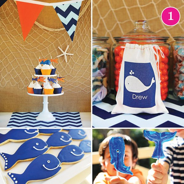 a preppy whale themed summer pool birthday party for kids