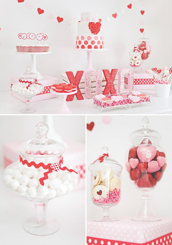 red and pink Valentine's Day dessert table