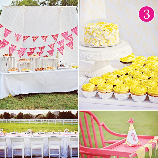 outdoor bright sunshine first birthday party dessert table and tablescape