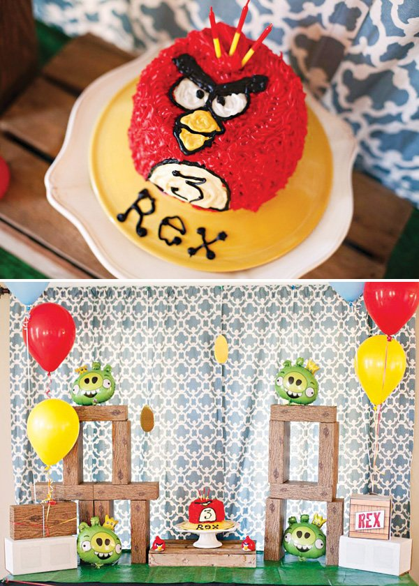red angry birds themed birthday party cake