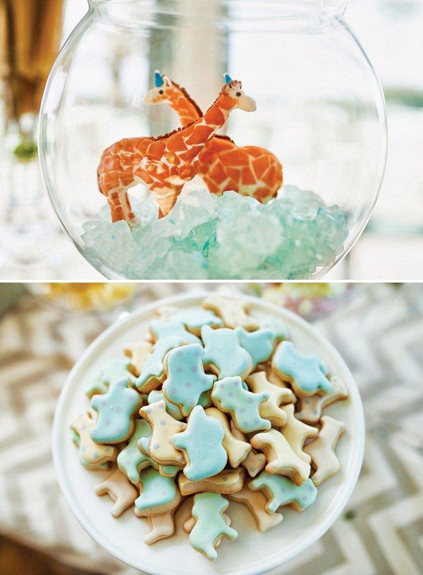 animal cookies and fondant giraffes