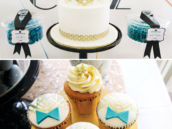 gold art deco cake and cupcakes topped with bow ties