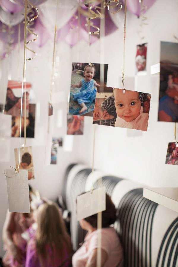 balloon hanging photos for a first birthday party