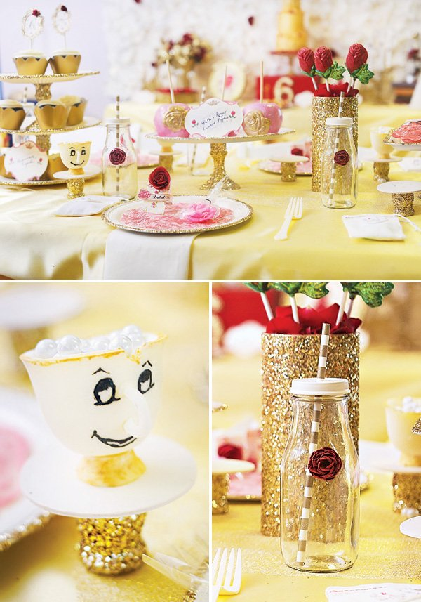 beauty and the beast themed party decor with a sugar Chip cup and milk bottle roses