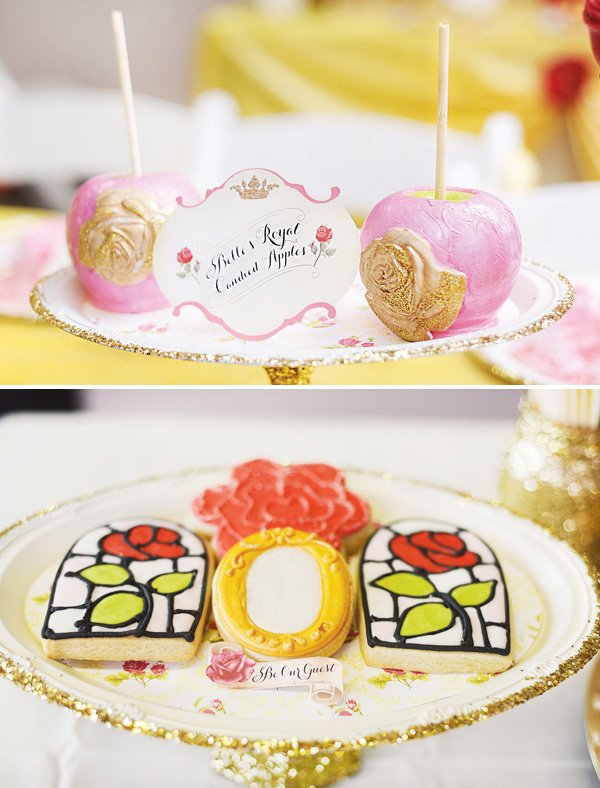 beauty and the beast themed desserts like candy apples and cookies
