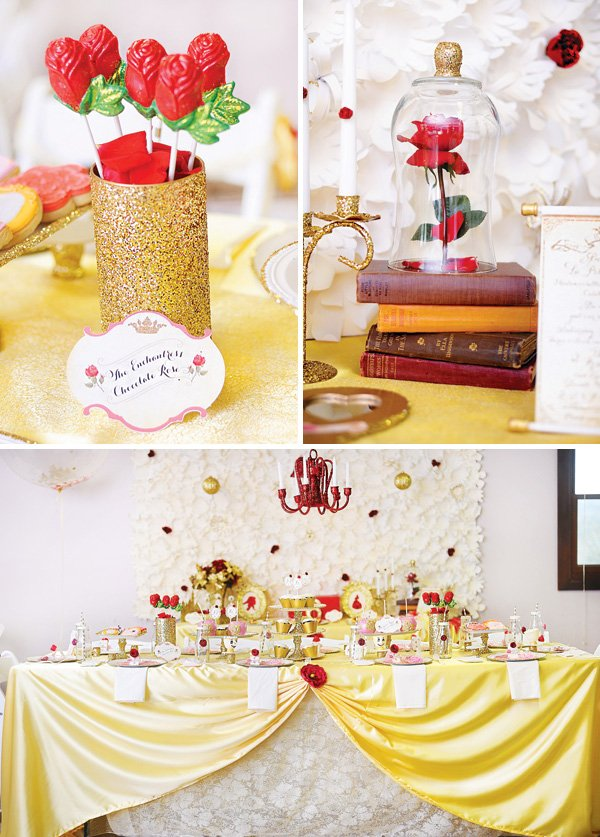 beauty and the beast party with chocolate rose buds and other decor
