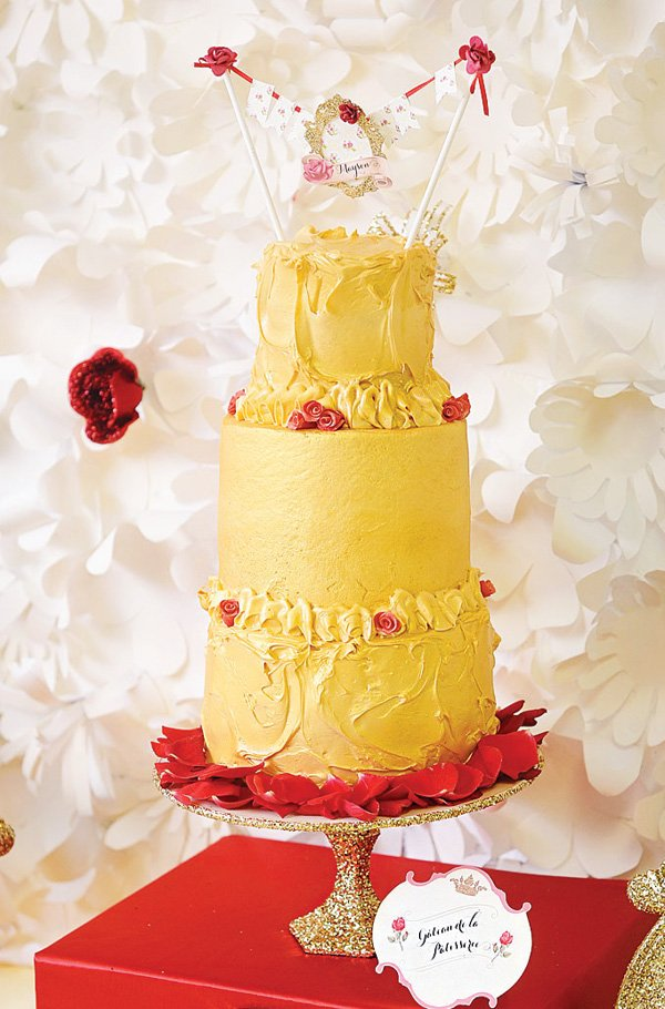 red and yellow princess belle inspired birthday cake