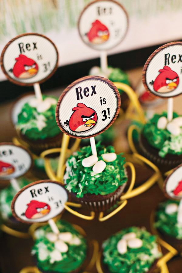 angry birds topped birds nest cupcakes