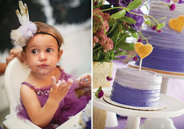 birthday girl and her purple smash cake
