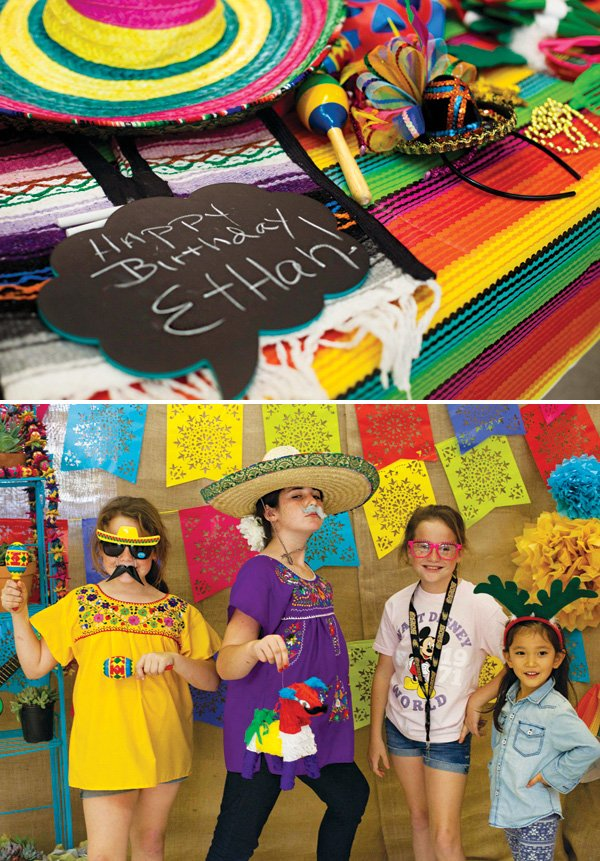 bright photo booth props for a fiesta first birthday