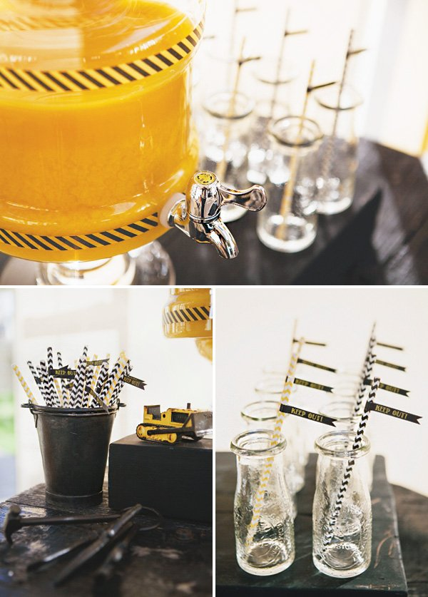 black and yellow striped drinks station