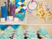 blue and purple candies and cupcakes