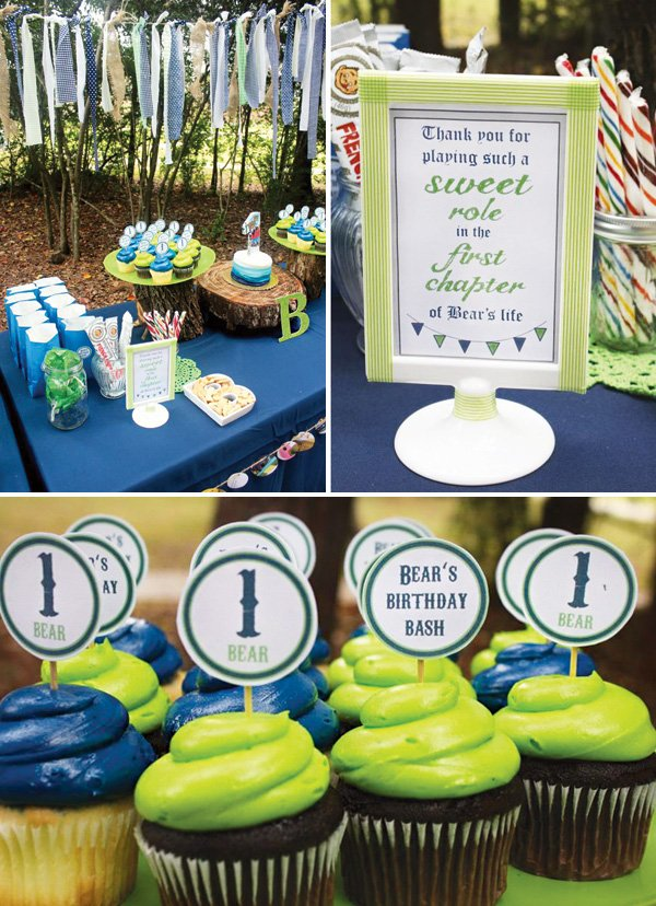 blue and green dessert table sweets