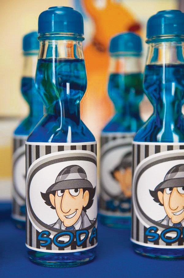 inspector gadget printables on blue soda bottles
