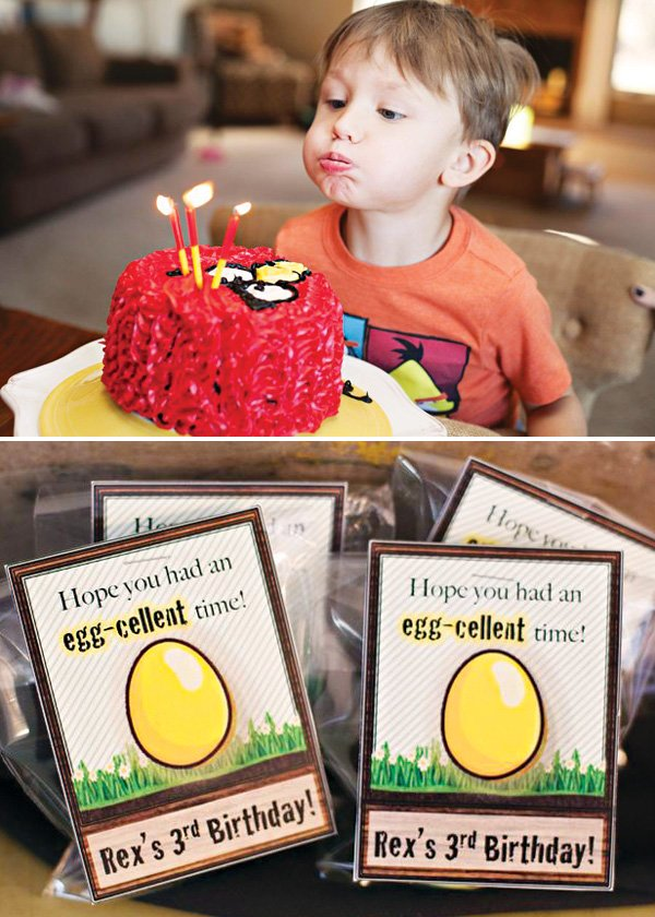 boy's angry birds themed birthday party with golden egg party favors