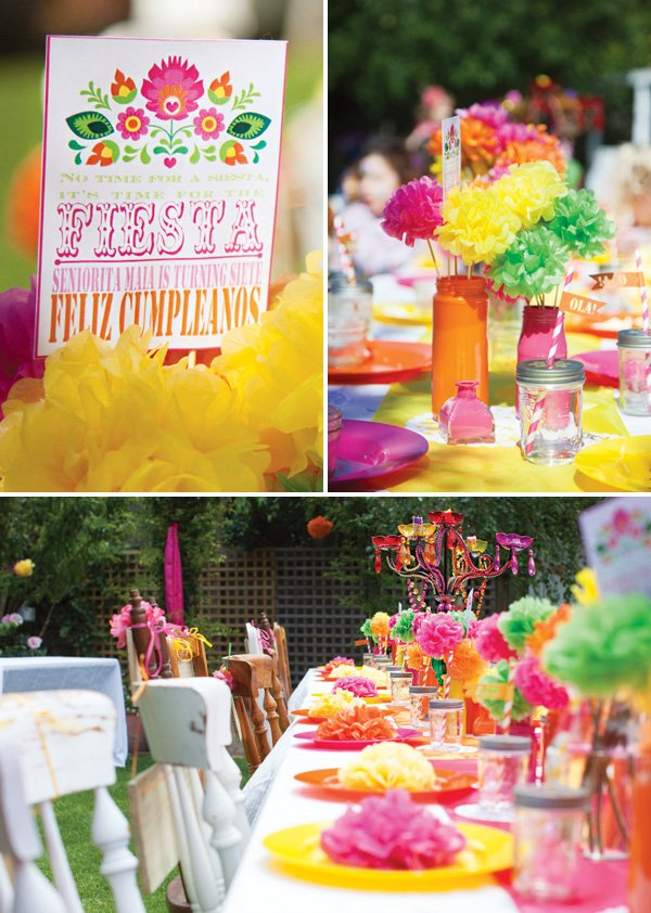bright girly fiesta tablescape decor