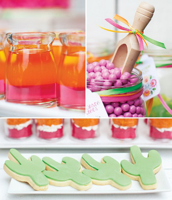 cactus cookies and pink and orange layered jellos