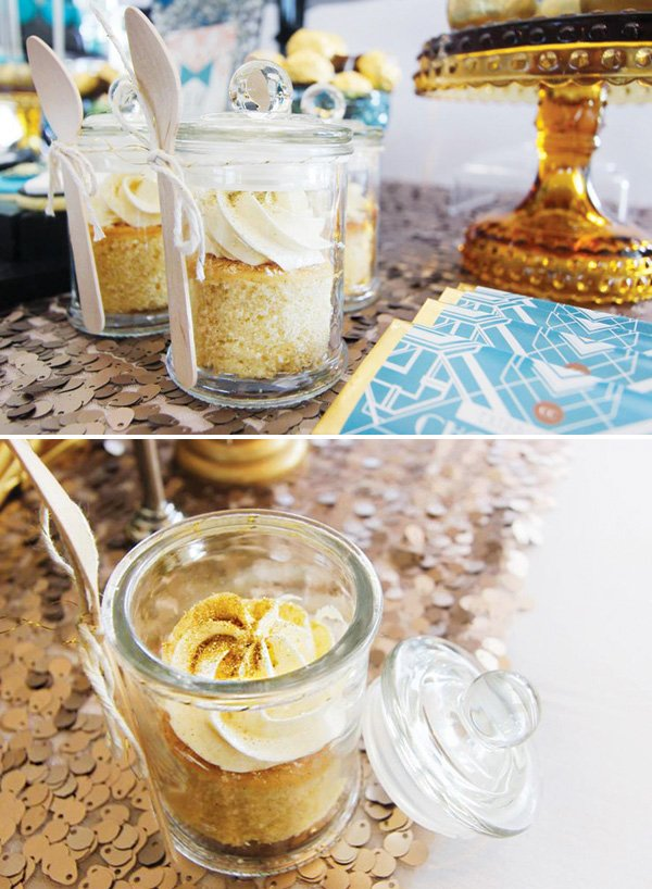 yellow cake in a jar
