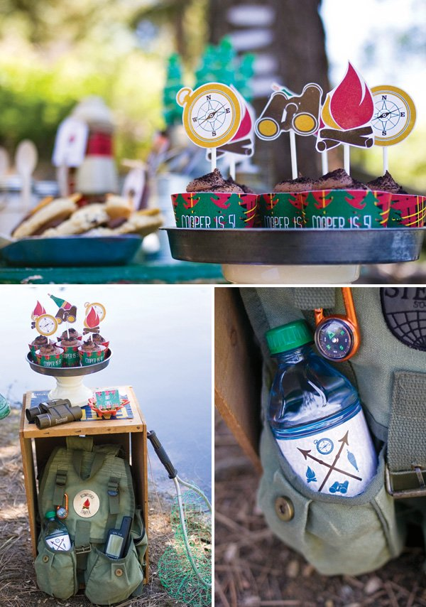 camping party printables and cupcakes