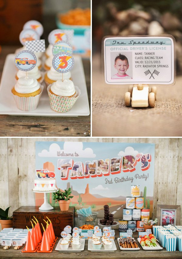 cars and radiator springs inspired dessert table and customized drivers licenses