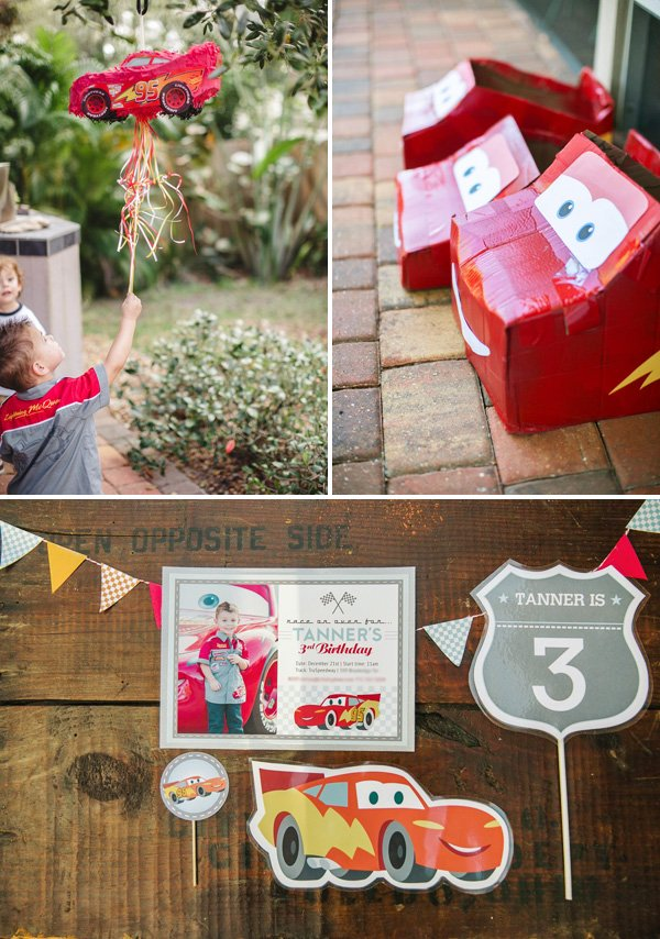 cars themed 3rd birthday party piñata and printables