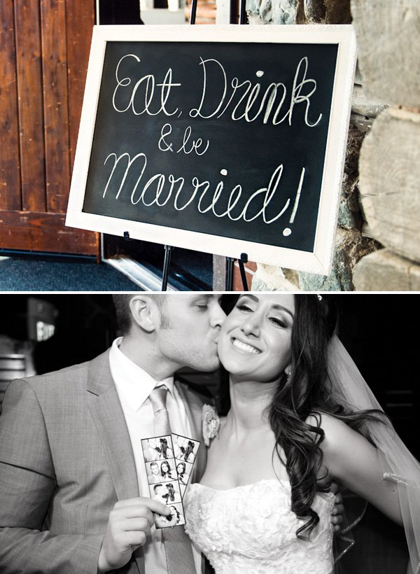 chalkboard wedding sign and photo booth