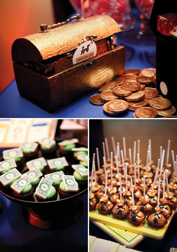 community chest filled with chocolate coins and other money themed desserts