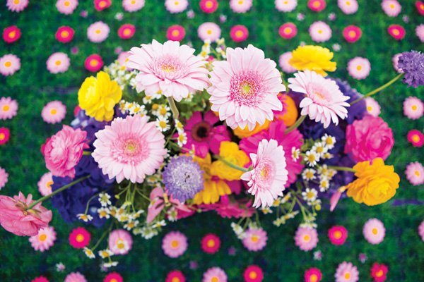colorful floral arrangement centerpiece
