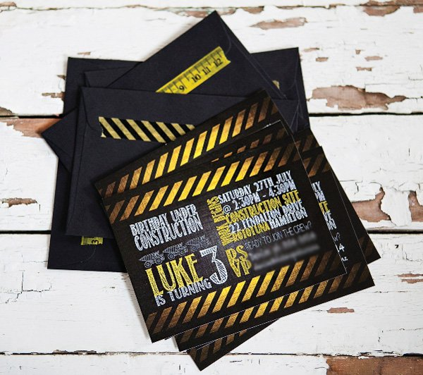 construction party chalkboard invitation
