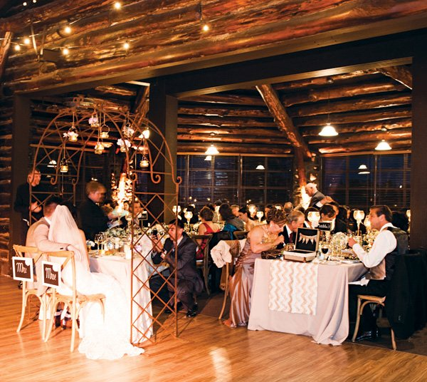 cozy and warm login cabin wedding reception