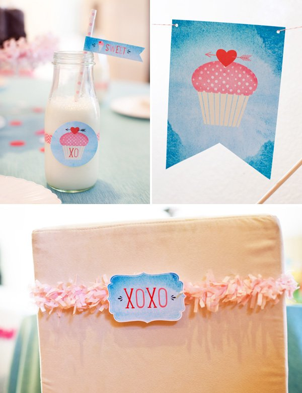 cupcake themed valentines day party printables