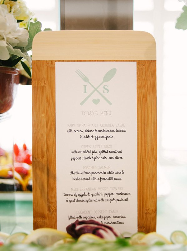 wooden cutting board menu