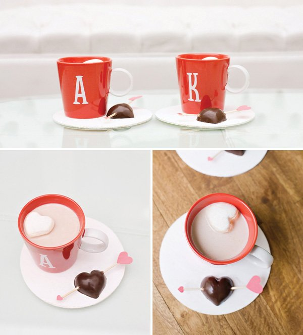 dark chocolate hot cocoa stirrers and homemade heart shaped marshmallows