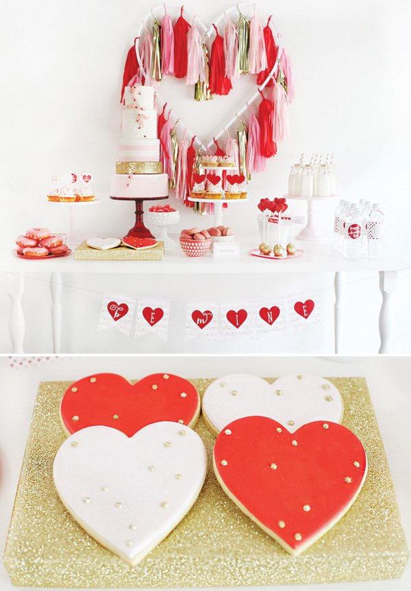 valentine's day dessert tab;e with gold dotted heart shaped cookies