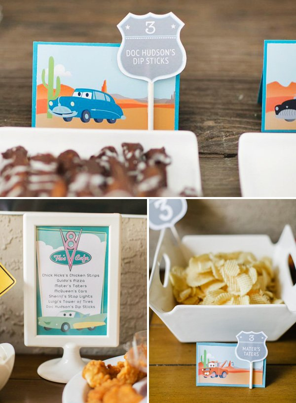 doc hudsons dip sticks, maters taters and other cars inspired party food