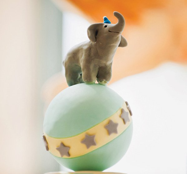 elephant on a ball cake topper
