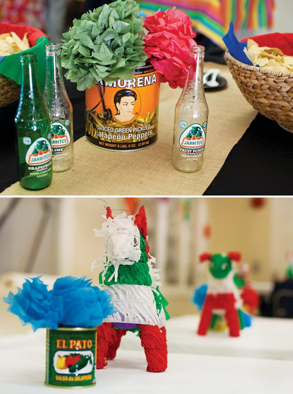 mexican party table decor with drink bottles and food cans