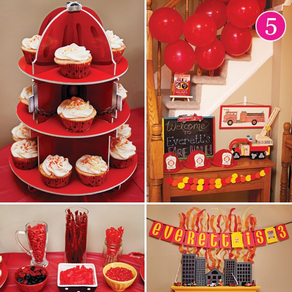 fun and fiery fire fighter themed birthday party