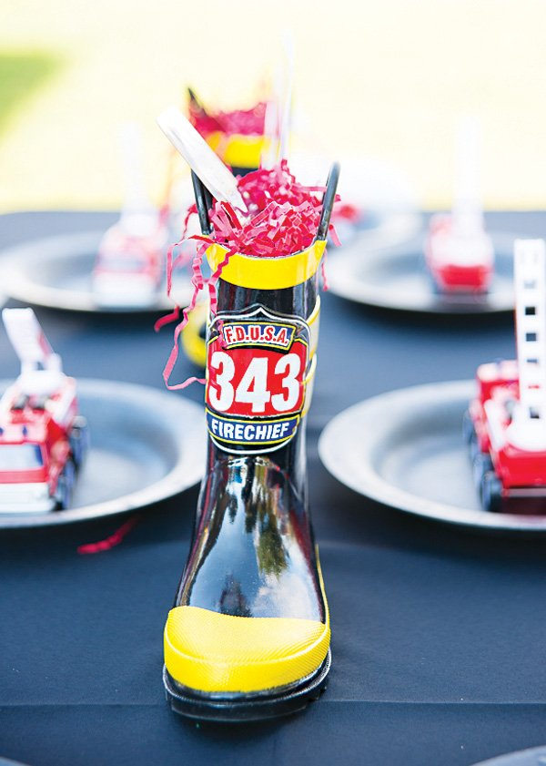 fireman boot table centerpiece