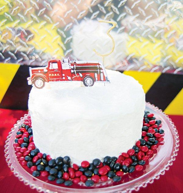 vintage firetruck topped birthday cake