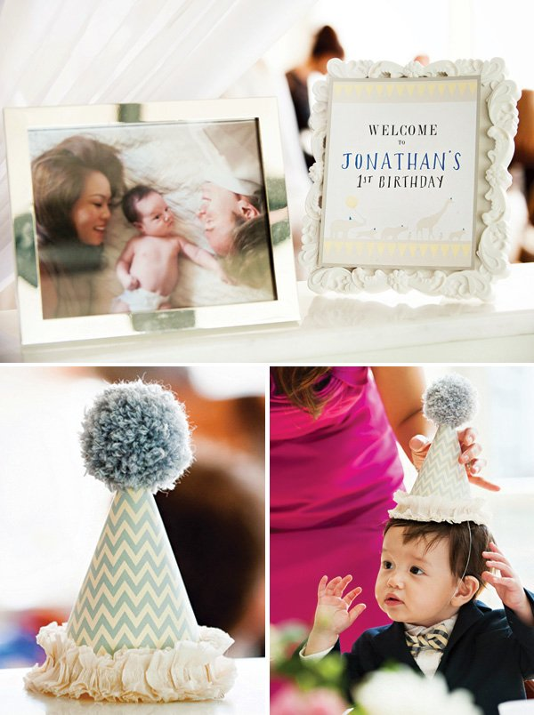 first birthday pom-topped party hats and entrance photos