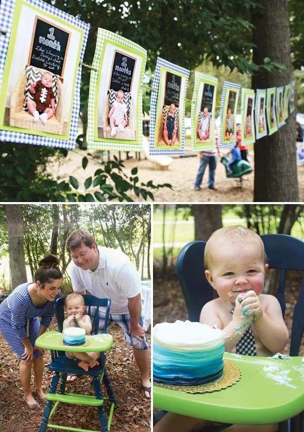 first birthday smash cake and photo banner